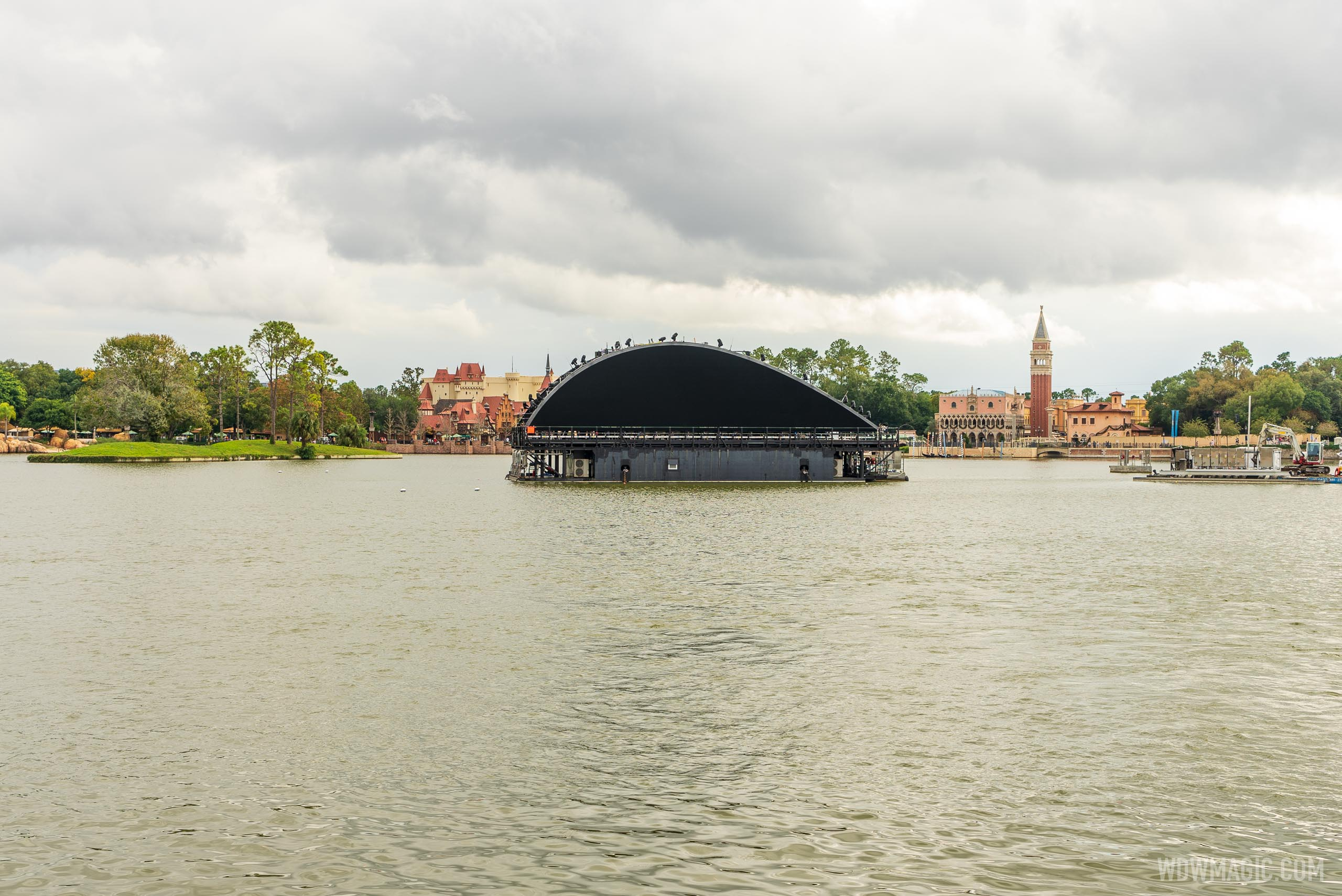 50mm 'Natural view' of the Harmonious show barge on World Showcase Lagoon
