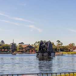 Firework barges on World Showcase Lagoon - February 4 2021