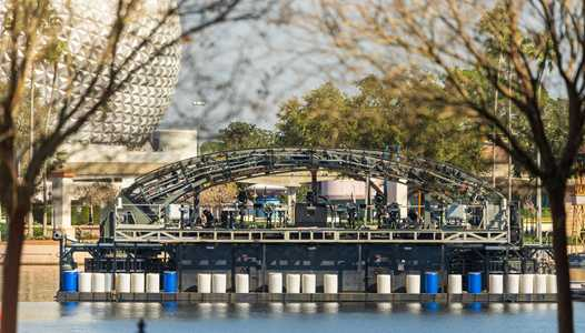 PHOTOS - Base of the main Harmonious central Stargate ring barge now in World Showcase Lagoon