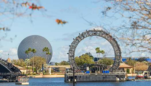 PHOTOS - Views of massive Harmonious central icon barge from around World Showcase Lagoon