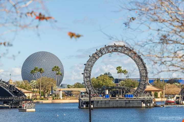 PHOTOS - Views of massive Harmonious central icon barge from around World Showcase Lagoon