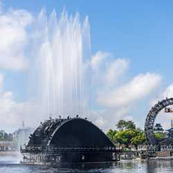 Harmonious Mexico barge fountain test and icon barge lighting test - March 24 2021