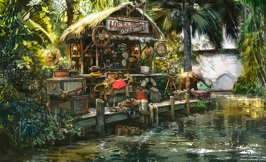 Concept art of the new 'Trader Sam's Gift Shop' scene at the Jungle Cruise