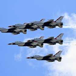 US Air Force Thunderbirds fly over the Magic Kingdom