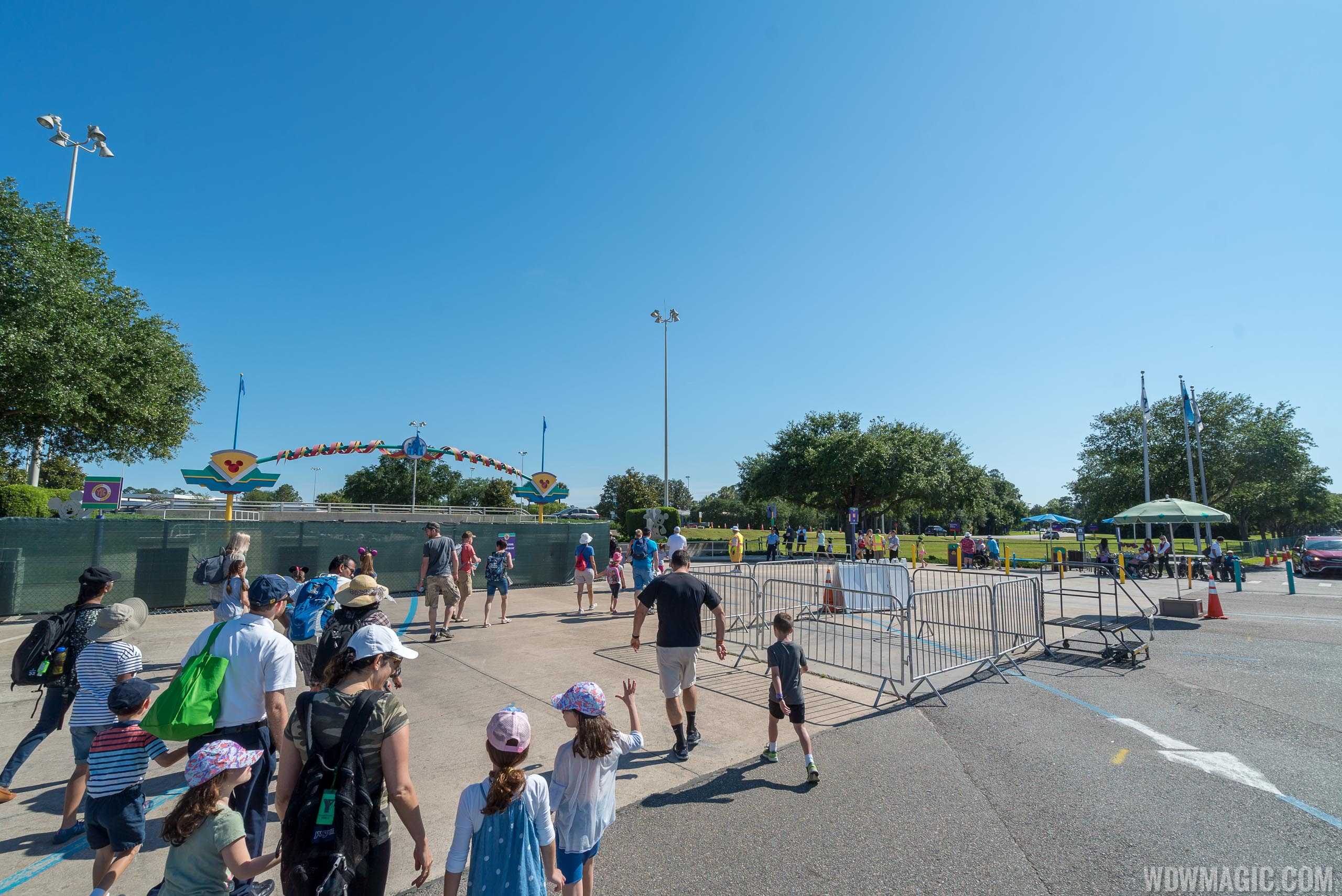 Temporary tram drop-off location at the Magic Kingdom Transportation and Ticket Center