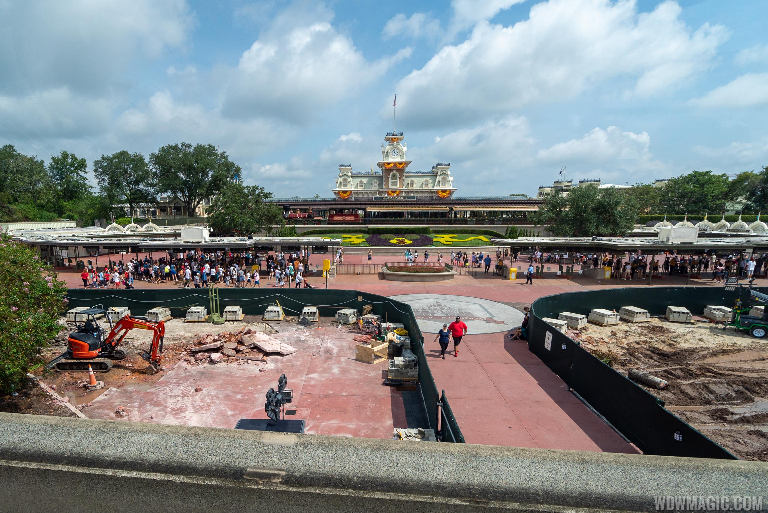 Magic Kingdom main entrance area construction - August 2019