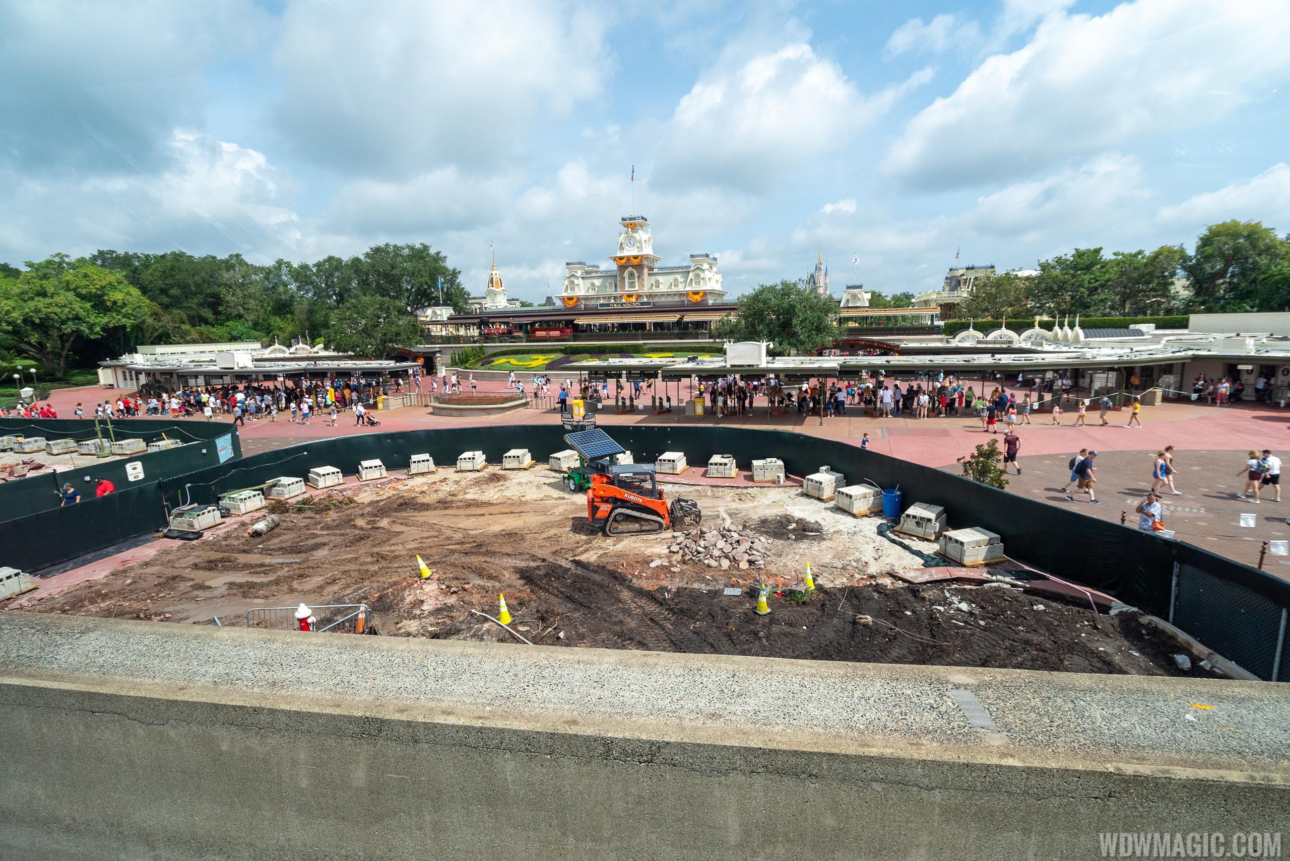 Magic Kingdom main entrance area construction - August 2019