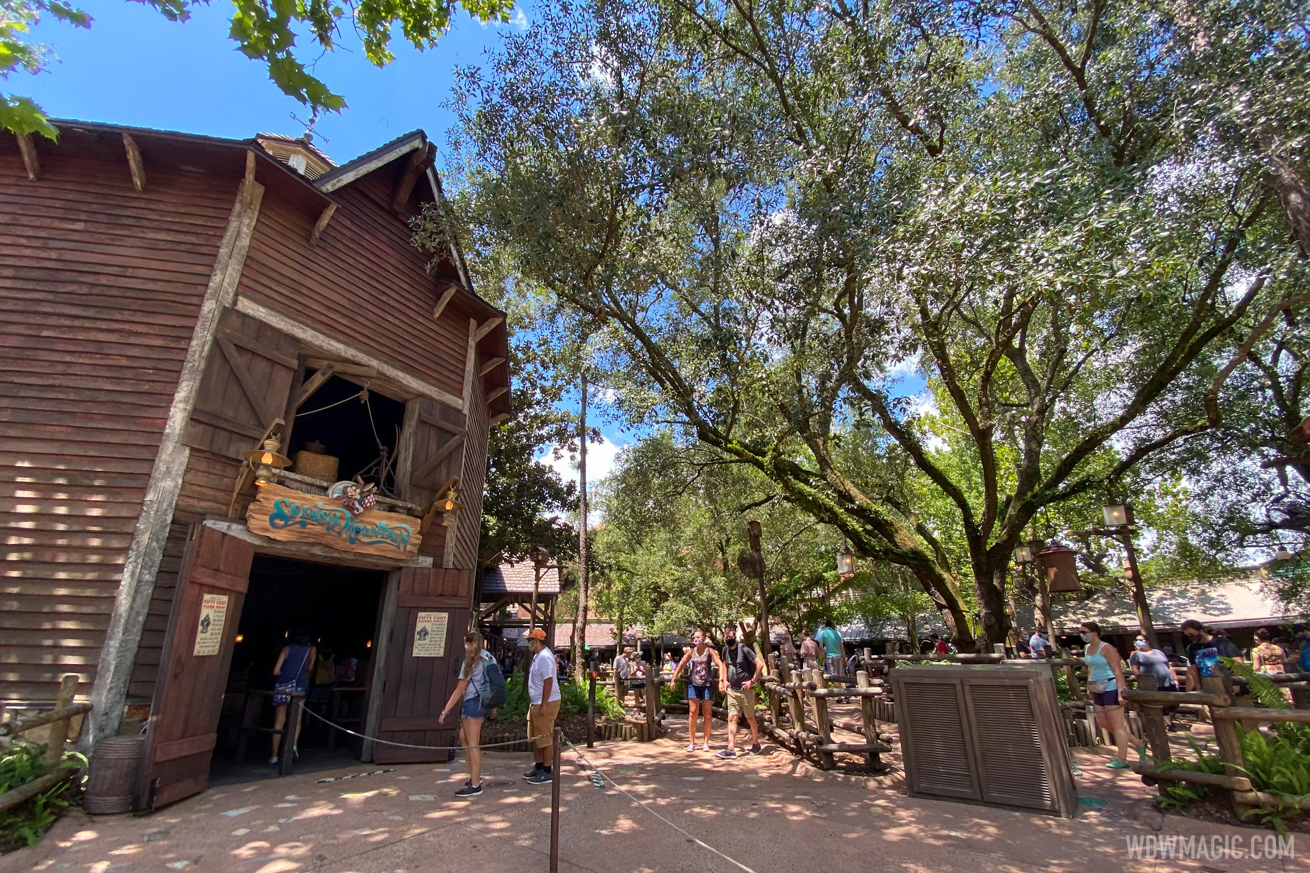 Physical distancing in line at Splash Mountain