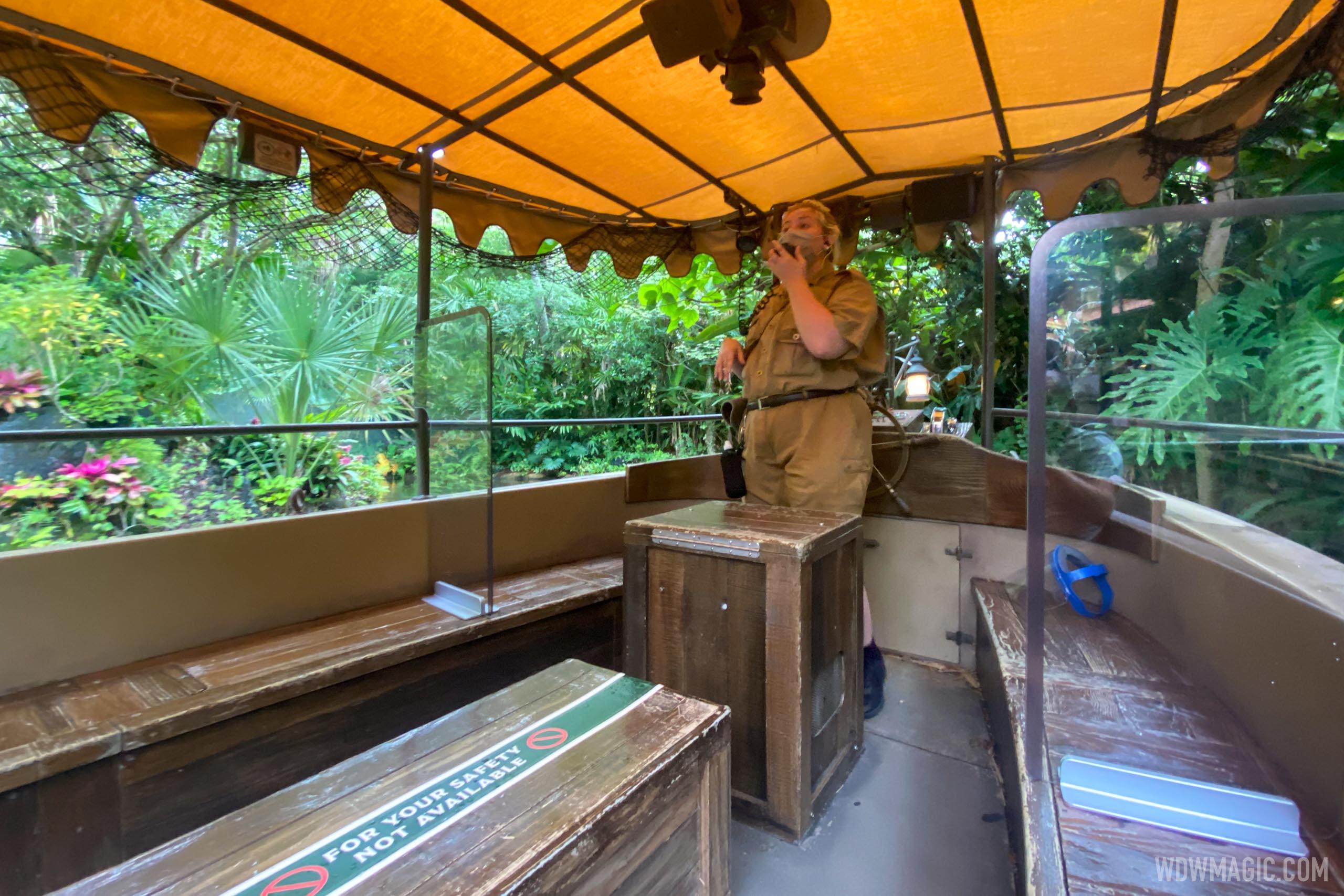 Plastic screens on Jungle Cruise