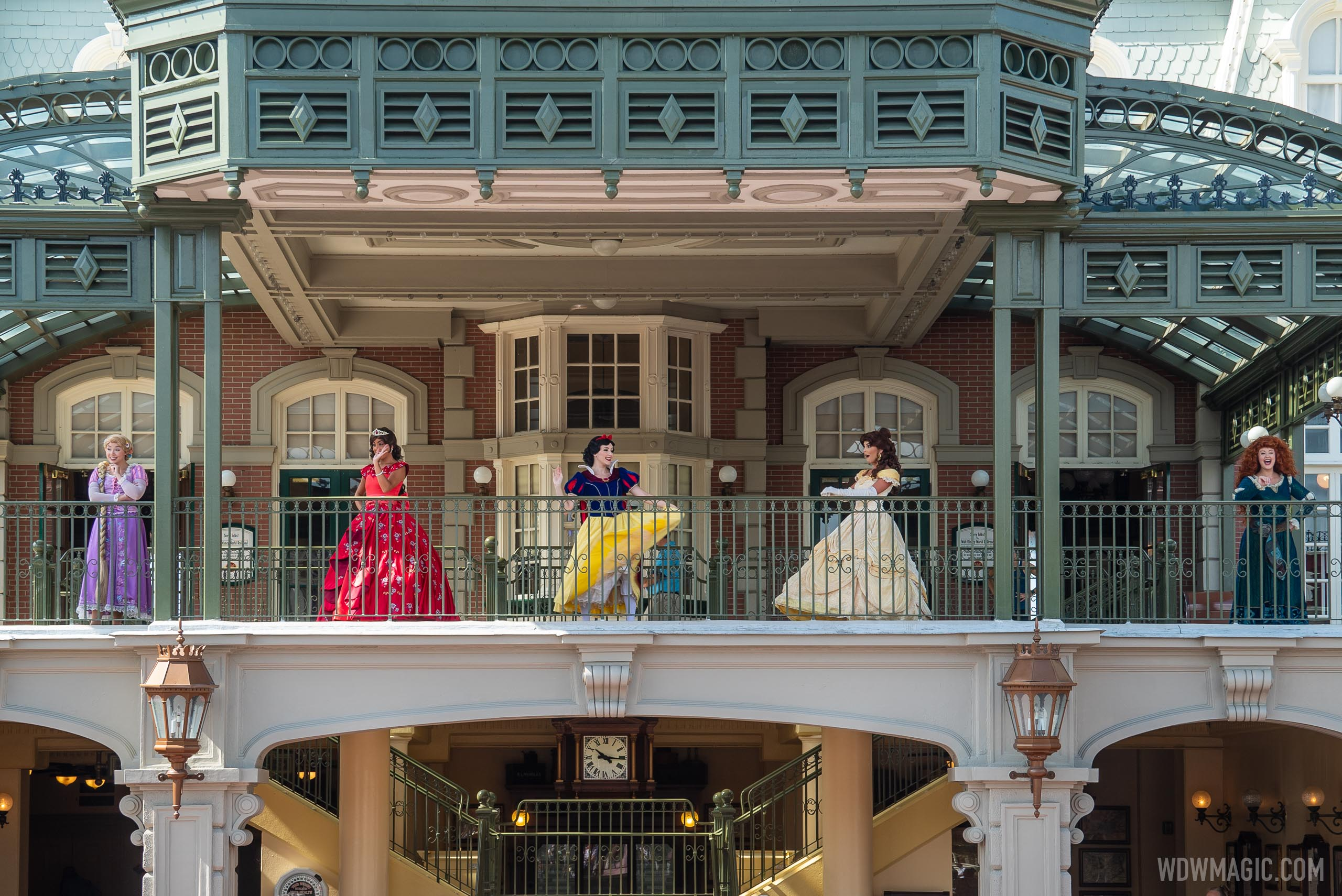 Disney Princesses on the train station balcony