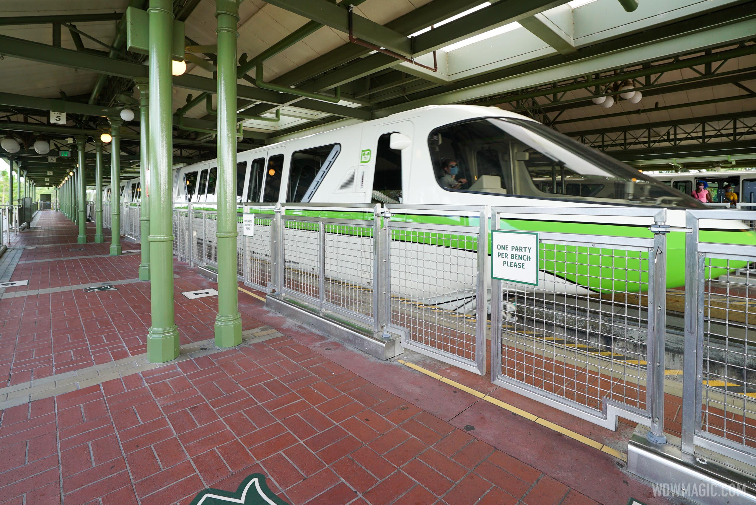 Monorails have marked boarding groups