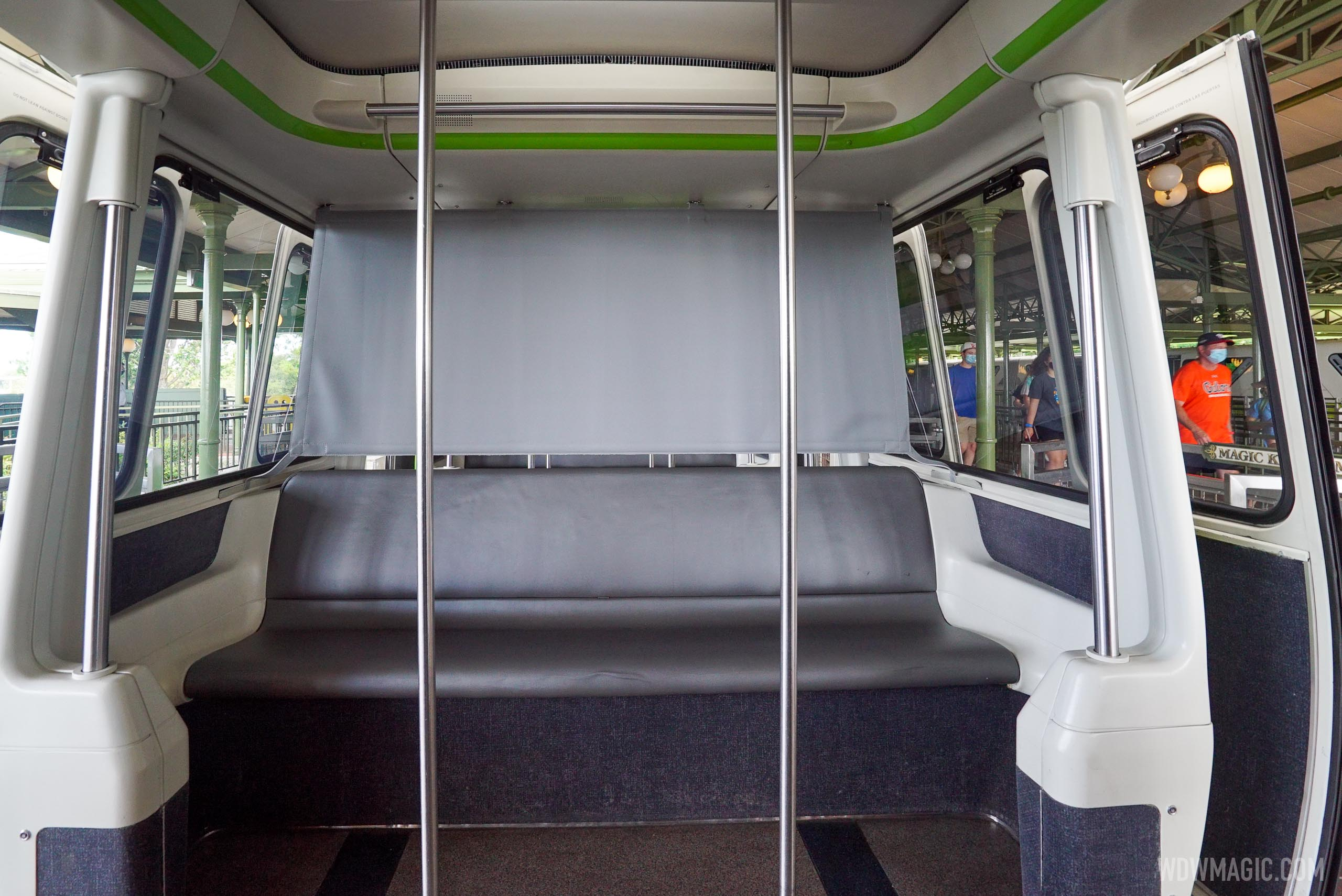 Screens separate the sections of the monorail