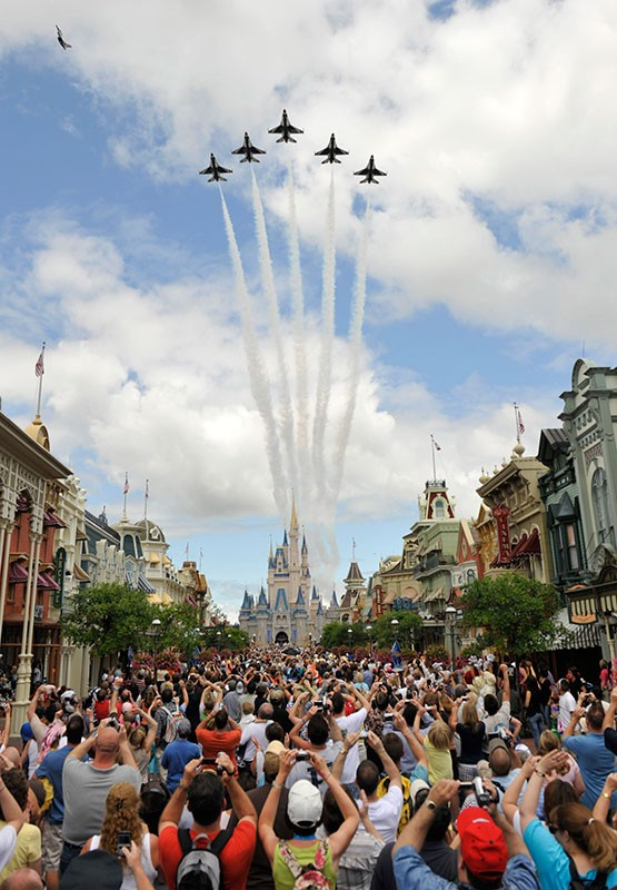 US Air Force Thunderbirds fly over the Magic Kingdom