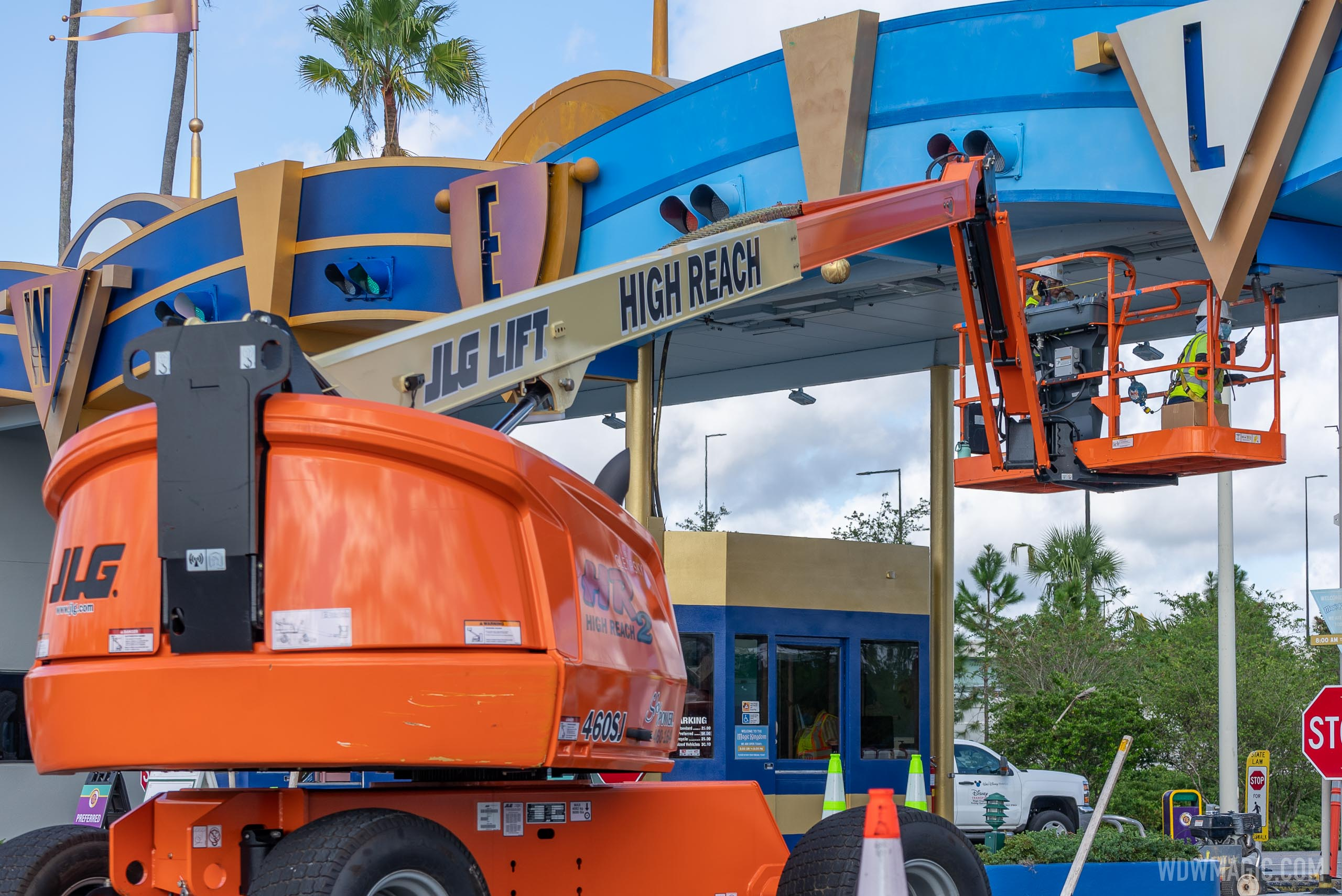 Crews working on the Magic Kingdom auto-plaza