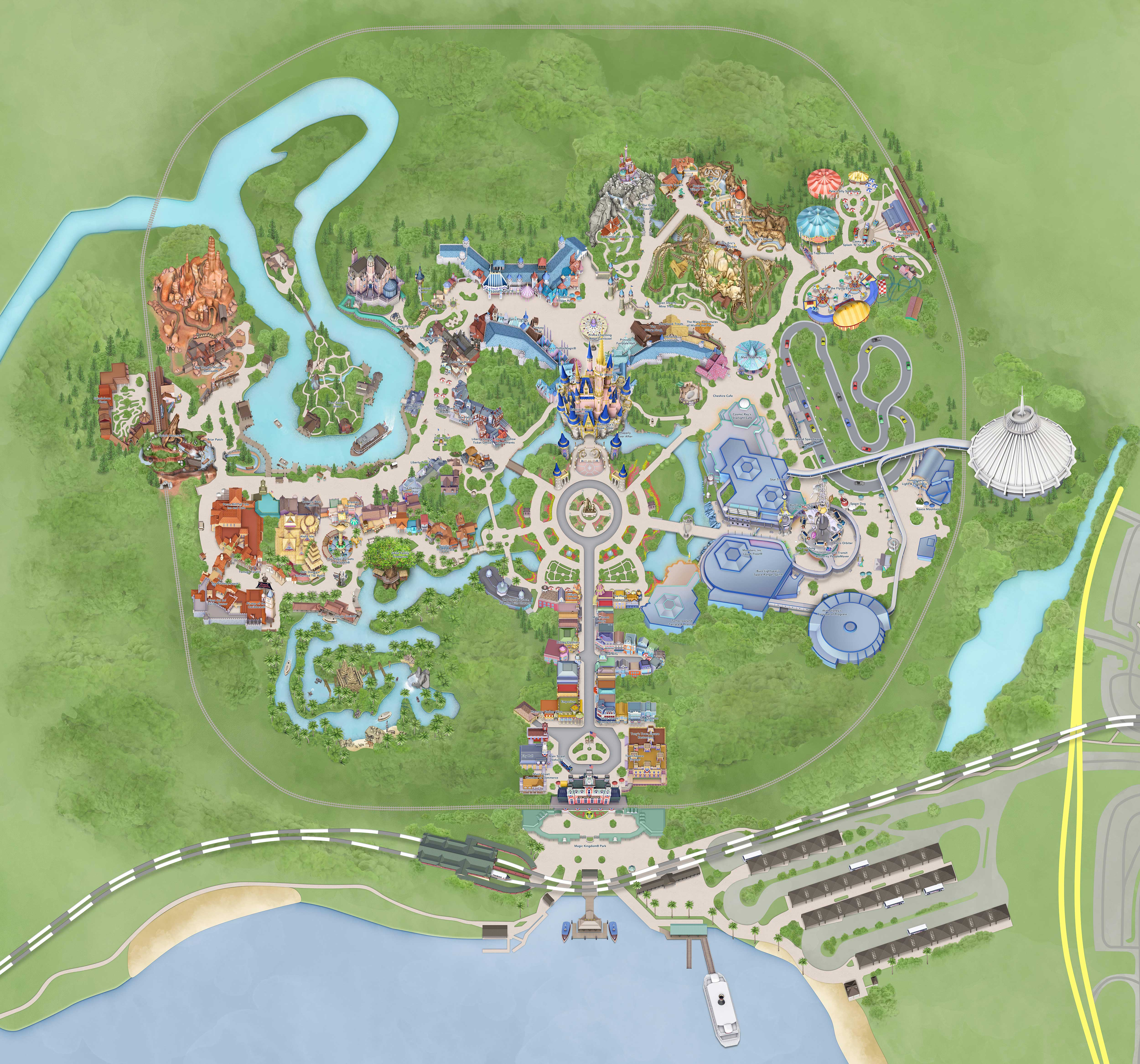 My Disney Experience map update - new look Cinderella Castle and path to Grand Floridian