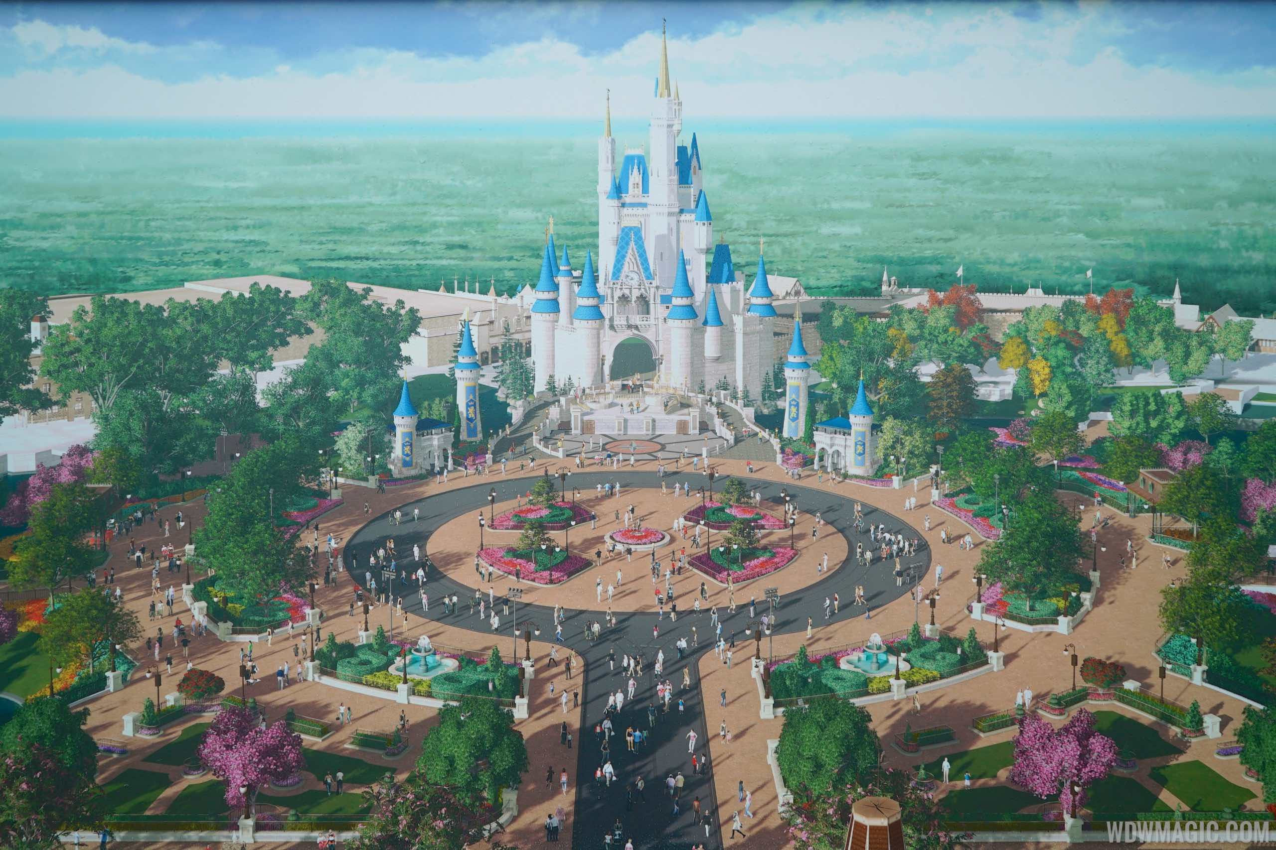Concept art of the finished Magic Kingdom hub redevelopment