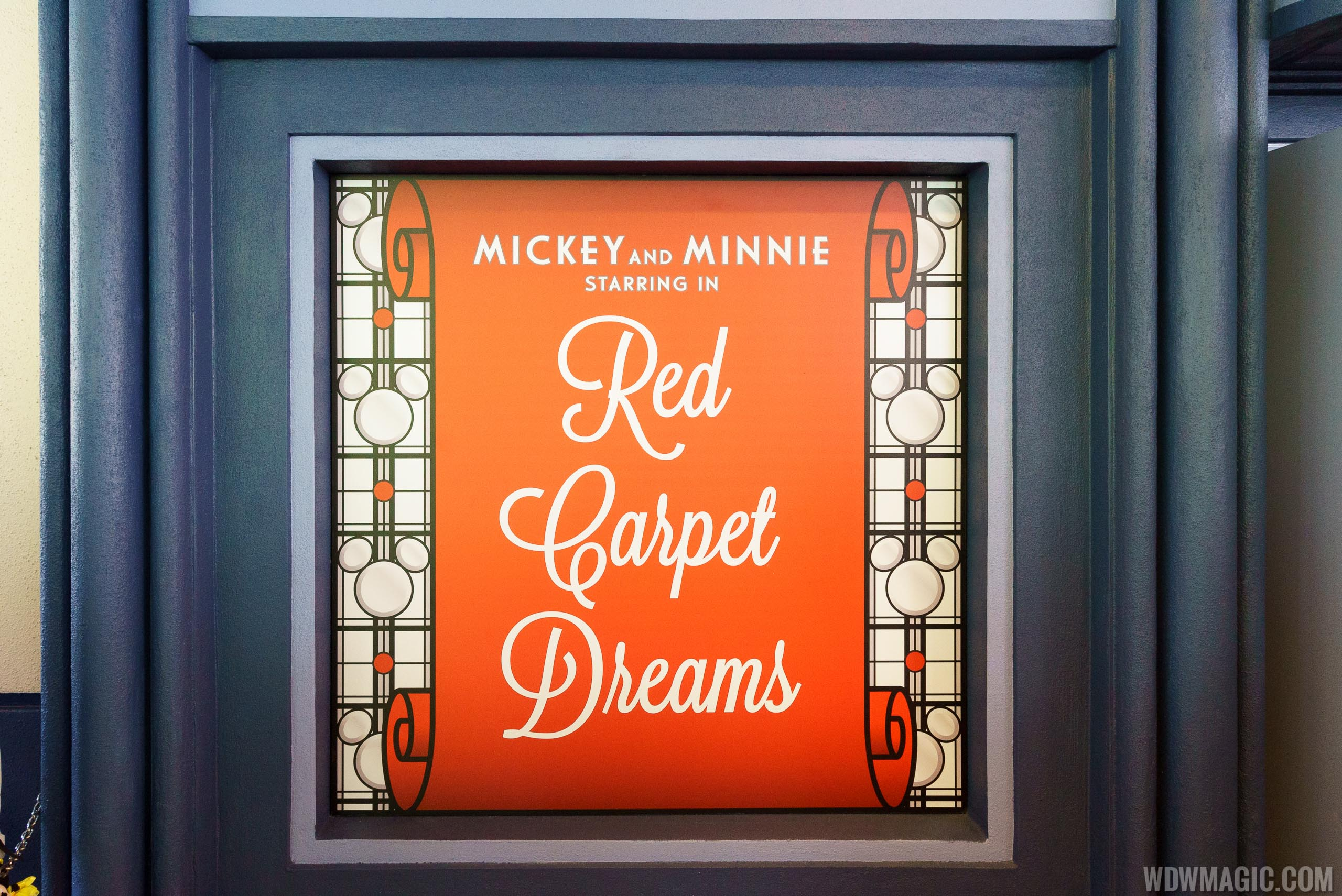 Mickey and Minnie Starring in Red Carpet Dreams signage