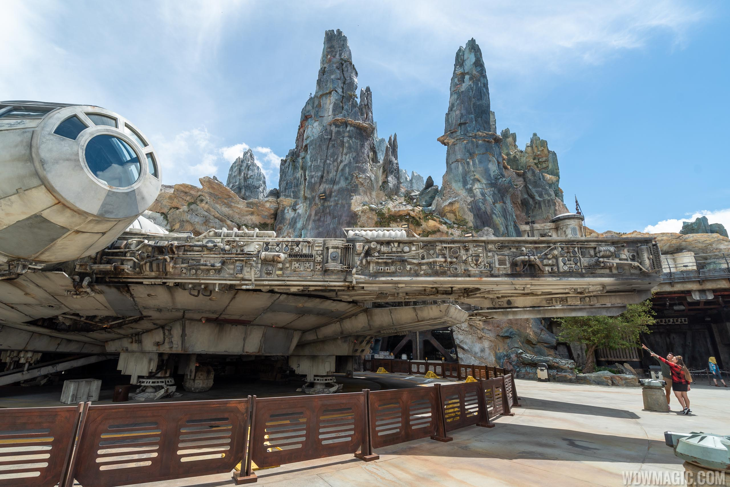 Closeup of the Millennium Falcon at Star Wars Galaxy's Edge in Walt Disney World