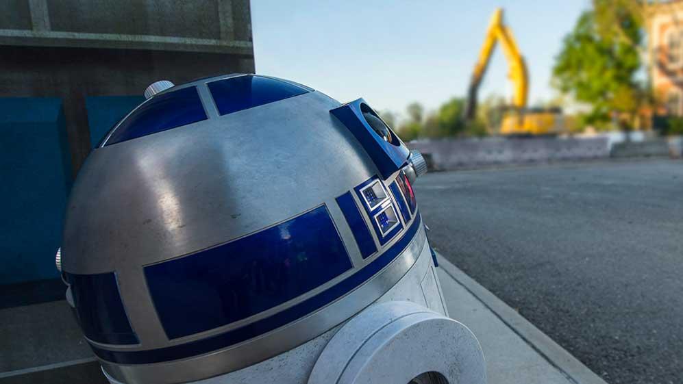 R2 surveying the demolition progress