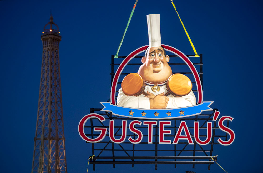 Gusteau's Restaurant signage installed