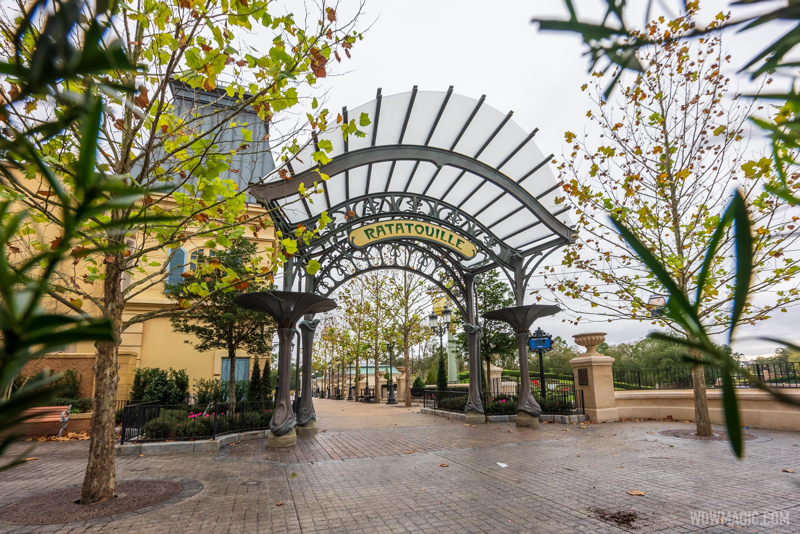 Construction walls down at Remy's Ratatouille Adventure entrance - January 12 2021