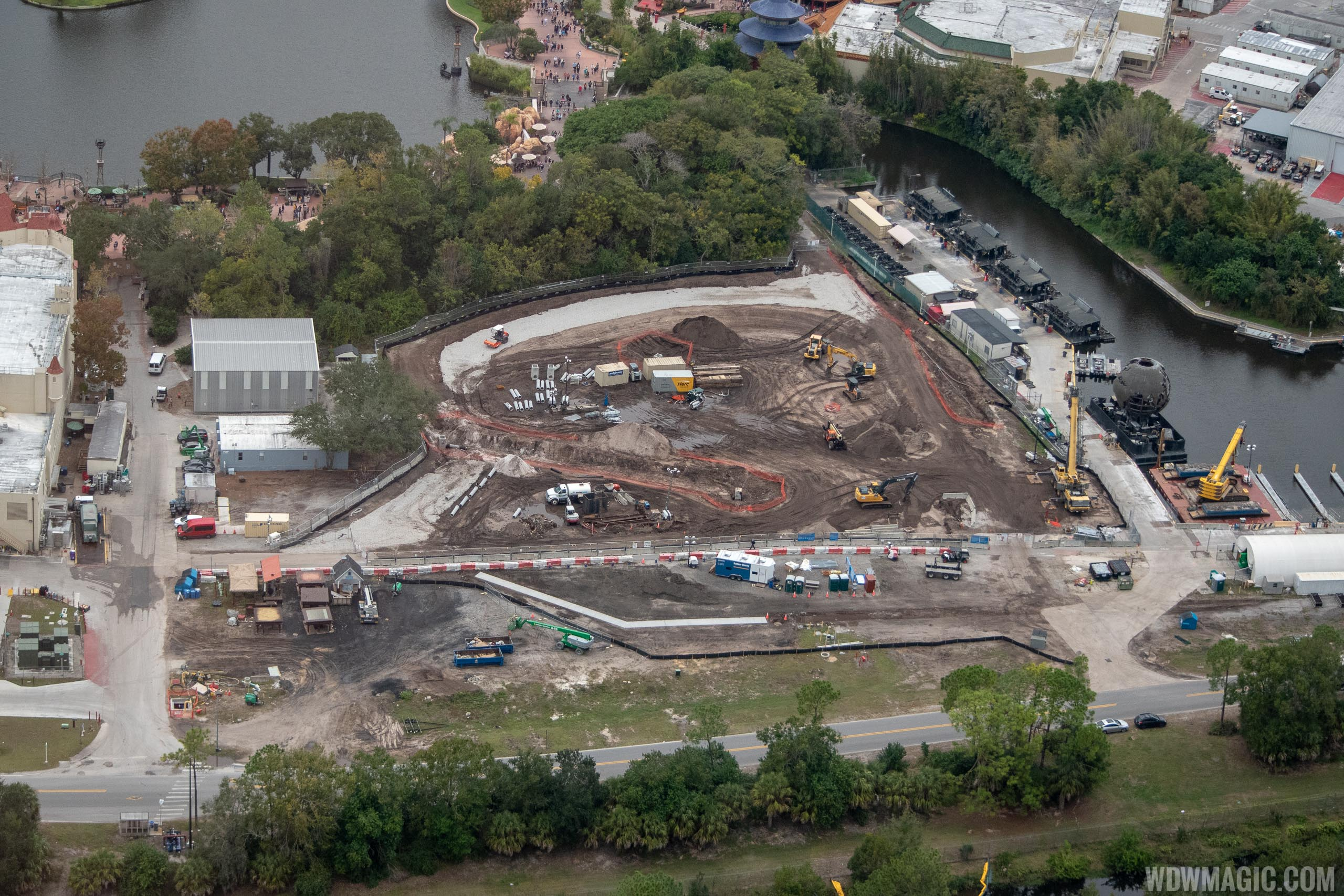 Aerial view of Epcot firework marina and construction site for future show preparations. Photo by @cchard