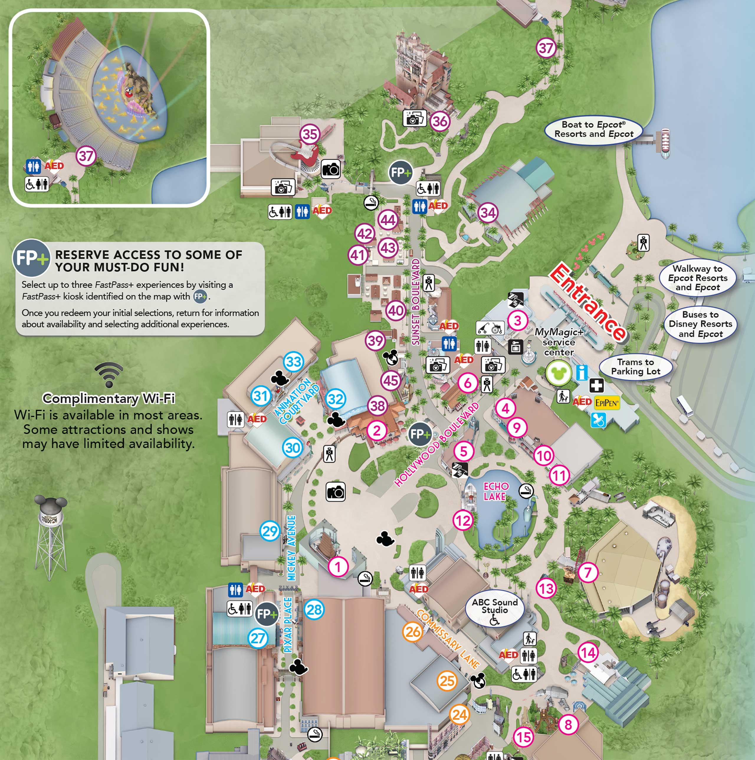 PHOTO New Hollywood Studios guide map shows a hatless Hollywood Blvd