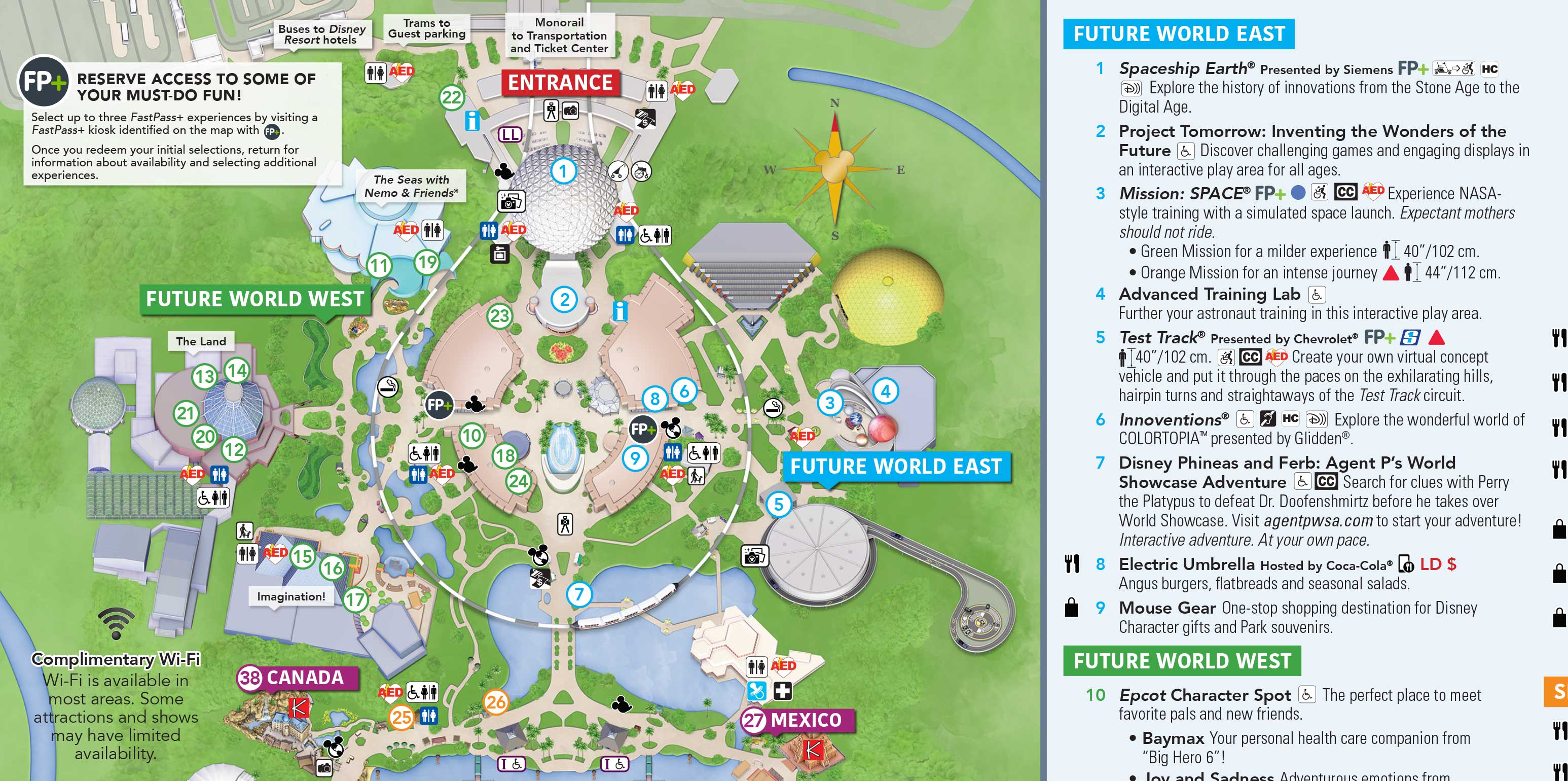 February 2018 Epcot Guide Map
