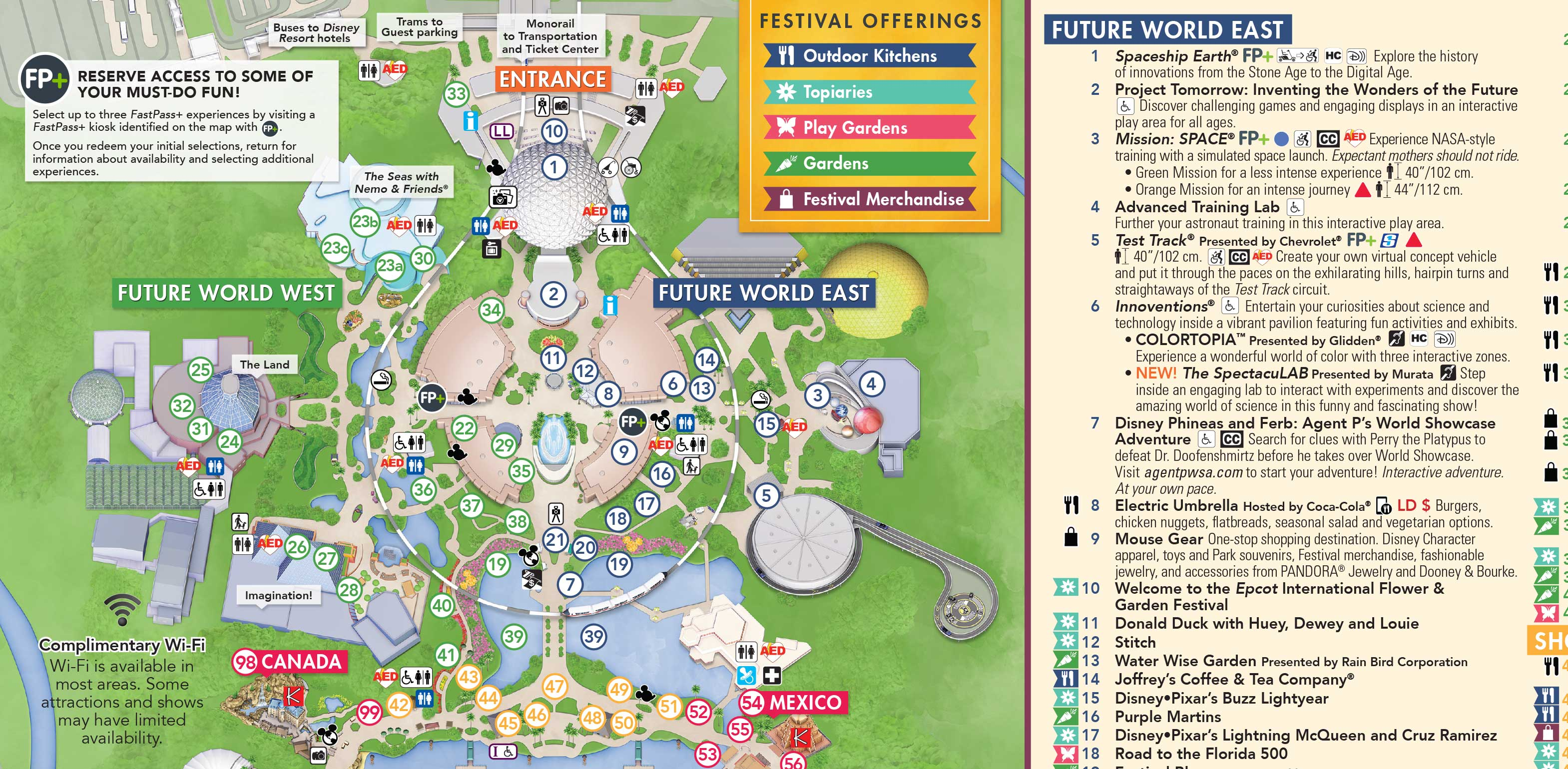 March 2018 Epcot Guide Map