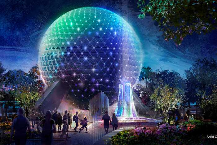 Concept art of new Spaceship Earth lighting system