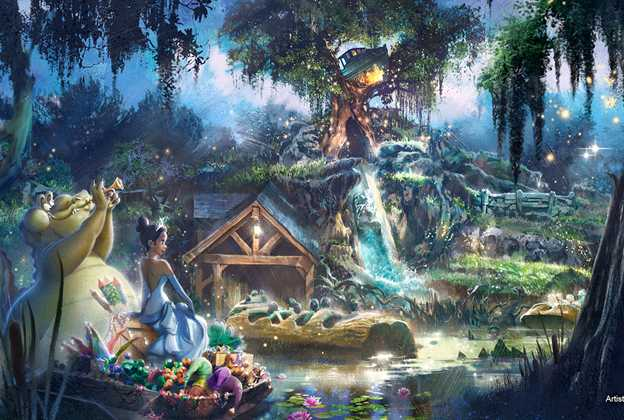 Princess and Frog Splash Mountain retheme concept art