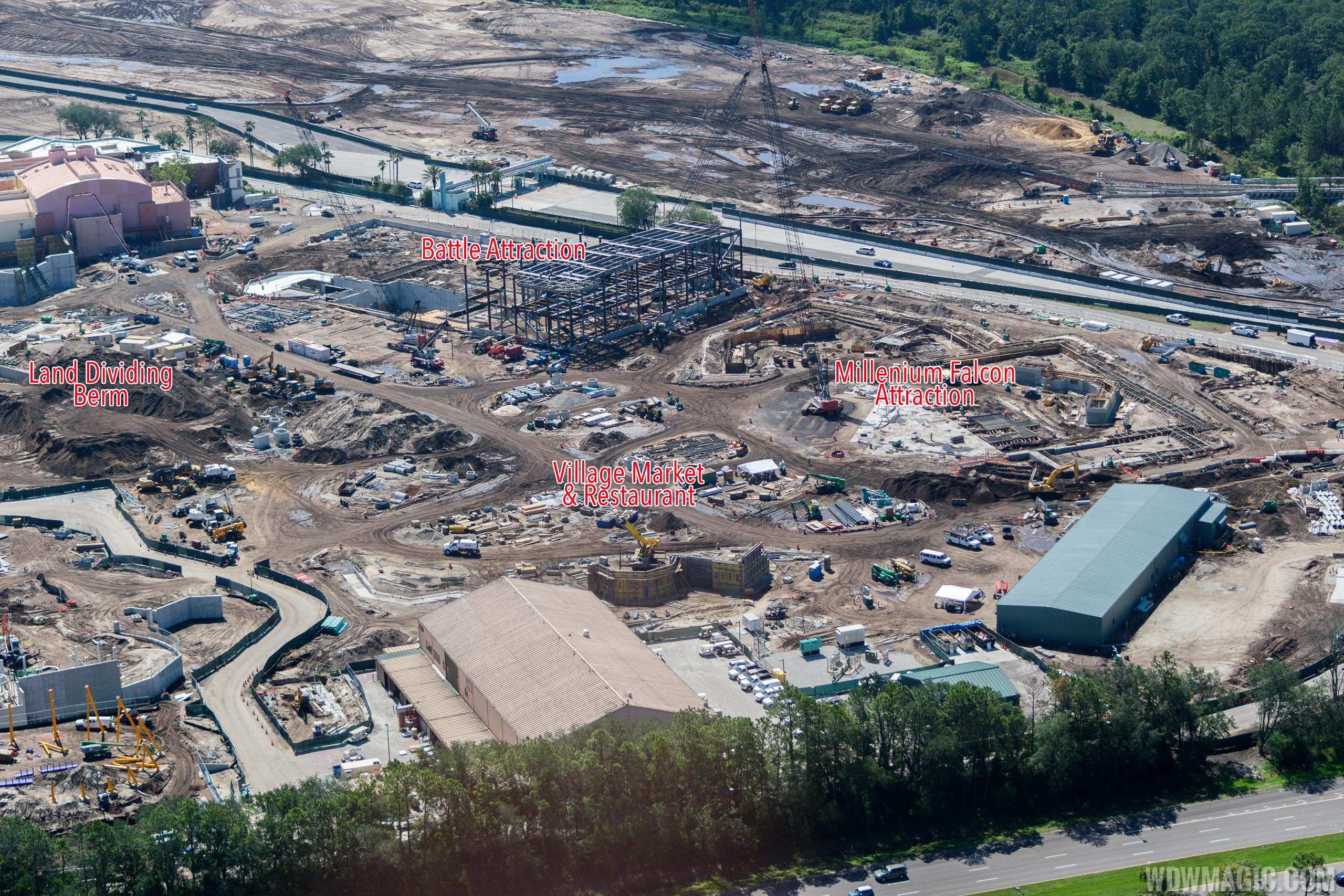 Annotated aerial view of Star Wars Land at Disney's Hollywood Studios