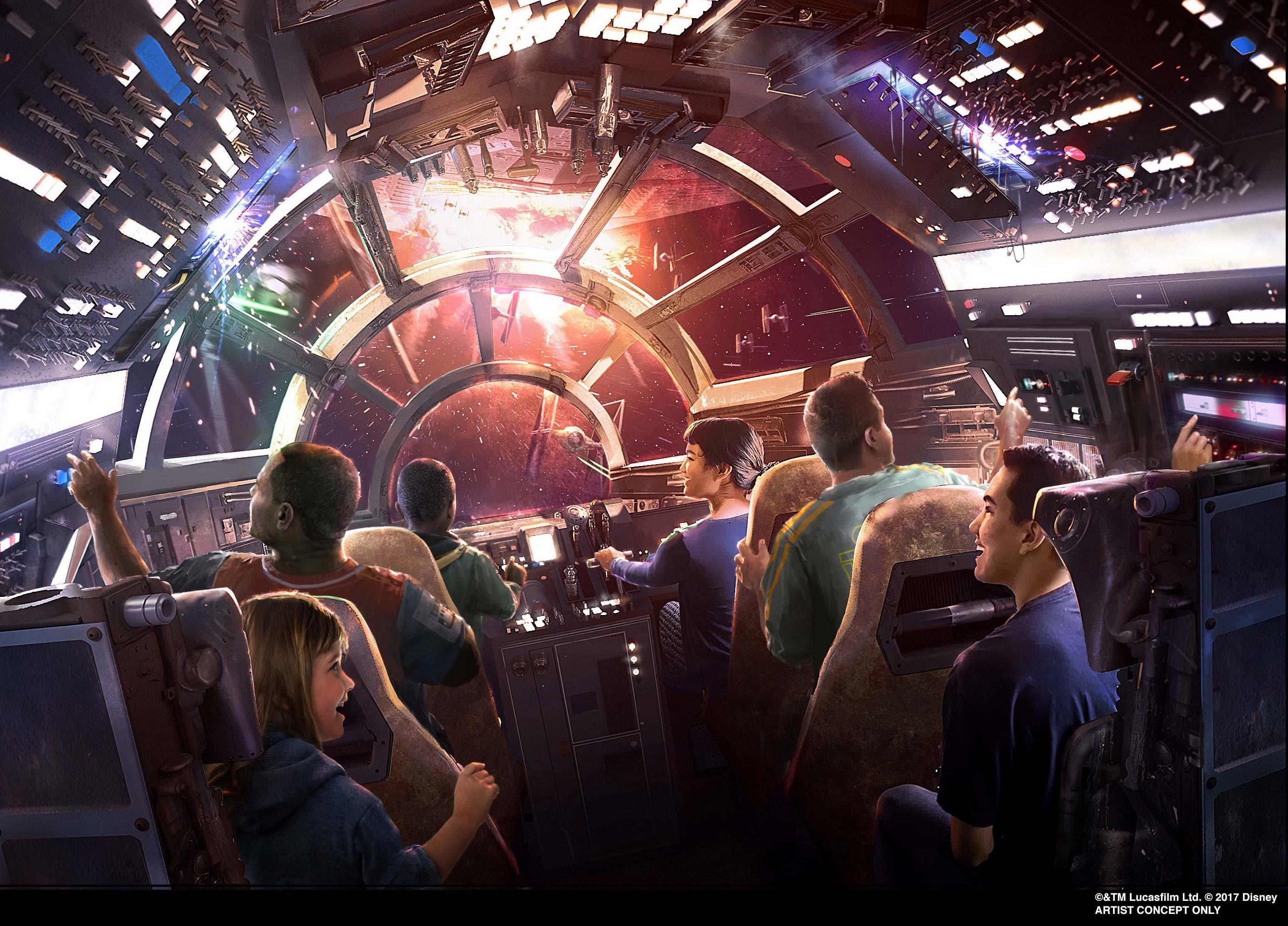 Millennium Falcon ride in Star Wars Galaxy's Edge