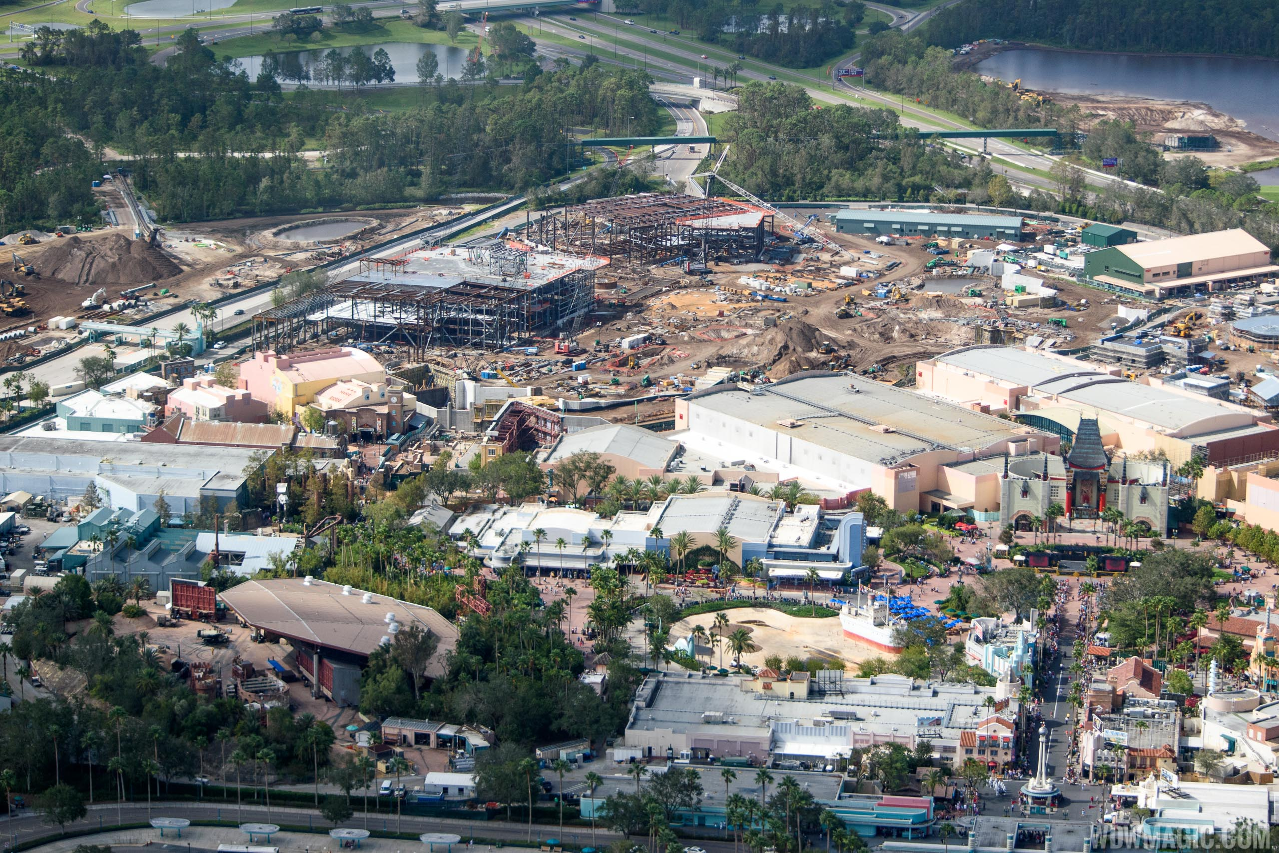 Wide view of Star Wars Galaxy's Edge at Disney's Hollywood Studios