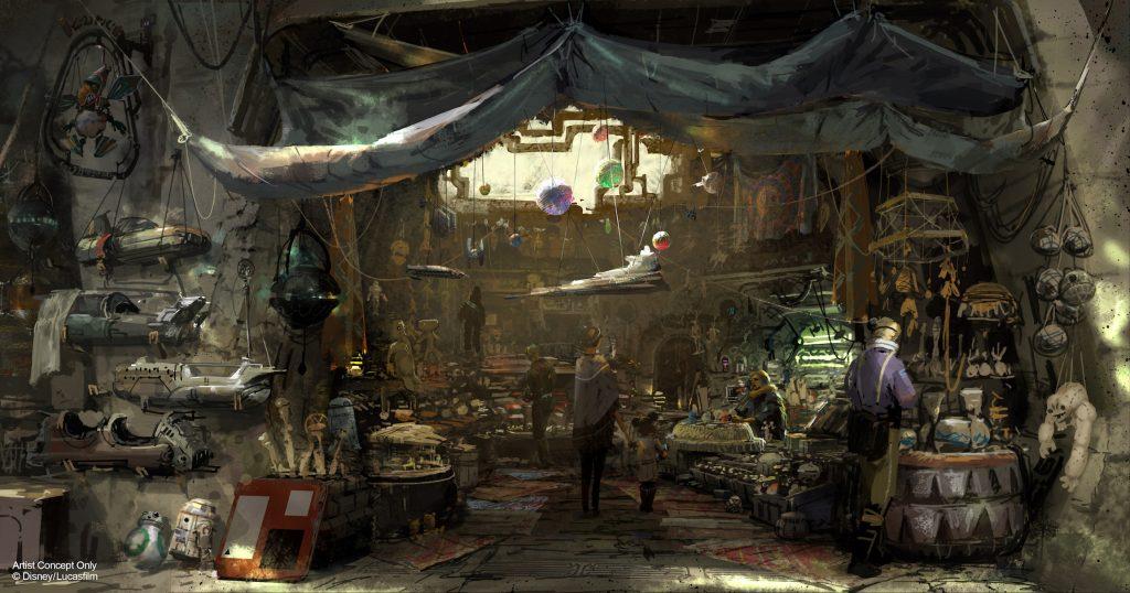 Shop interior at Star Wars Galaxy's Edge