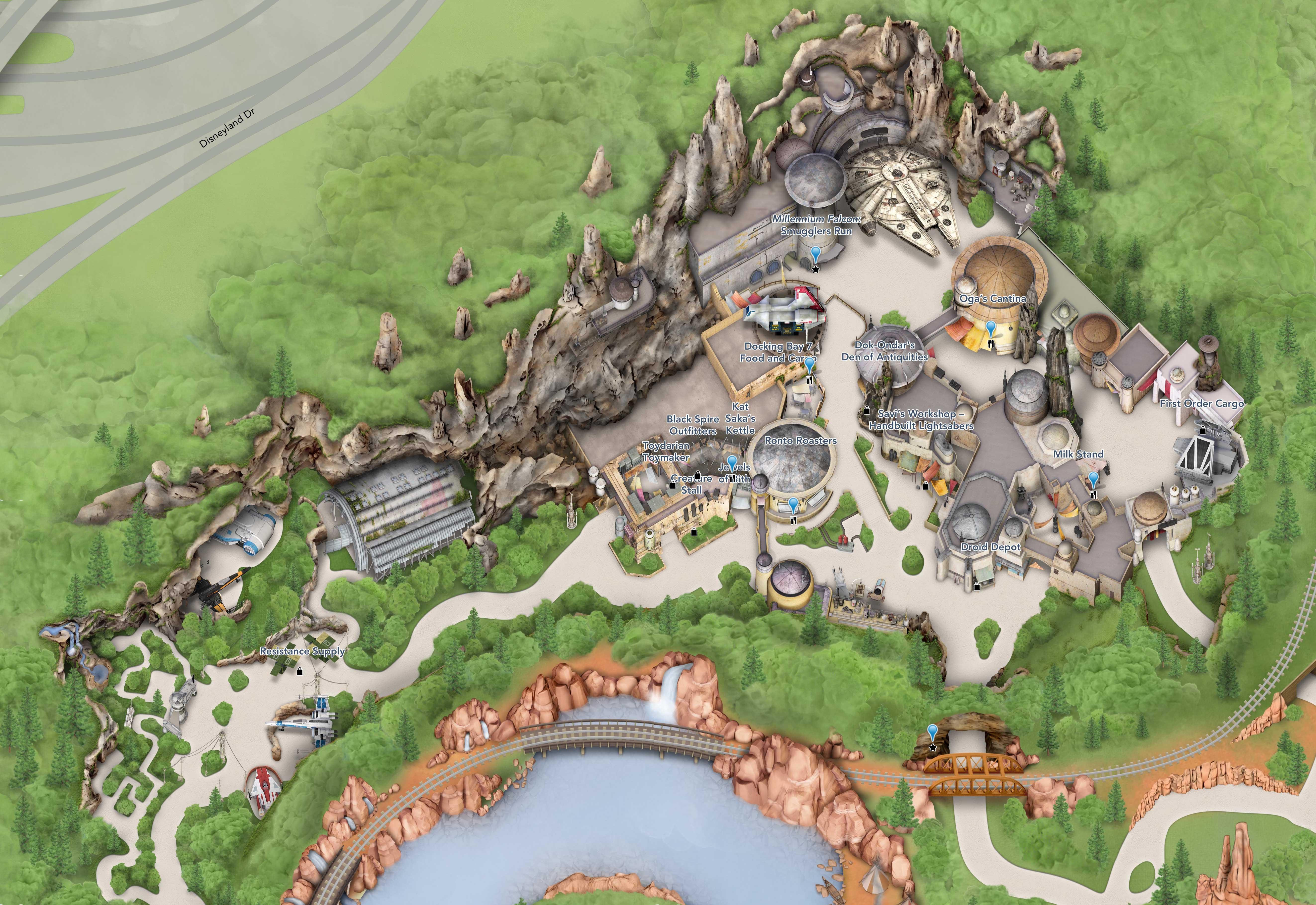 Star Wars Galaxy's Edge Disneyland Guide-map - Photo 1 of 3 Disneyland Map on