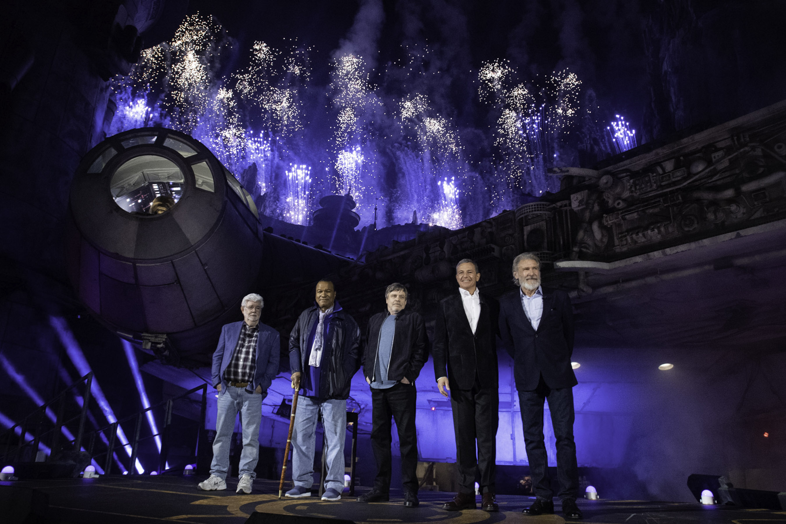 Star Wars creator George Lucas and actors Billy Dee Williams and Mark Hamill, Walt Disney Company Chairman and CEO Bob Iger and actor Harrison Ford celebrate the opening of Star Wars Galaxy's Edge