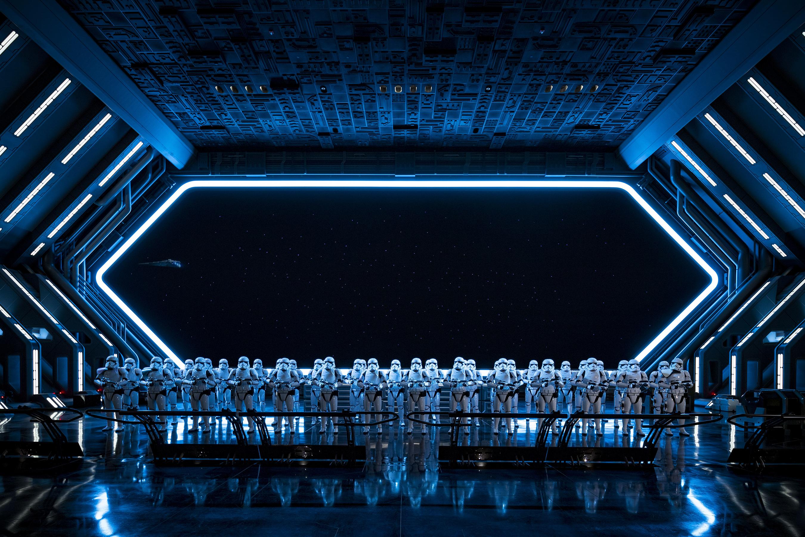 The massive hanger scene aboard the Star Destroyer