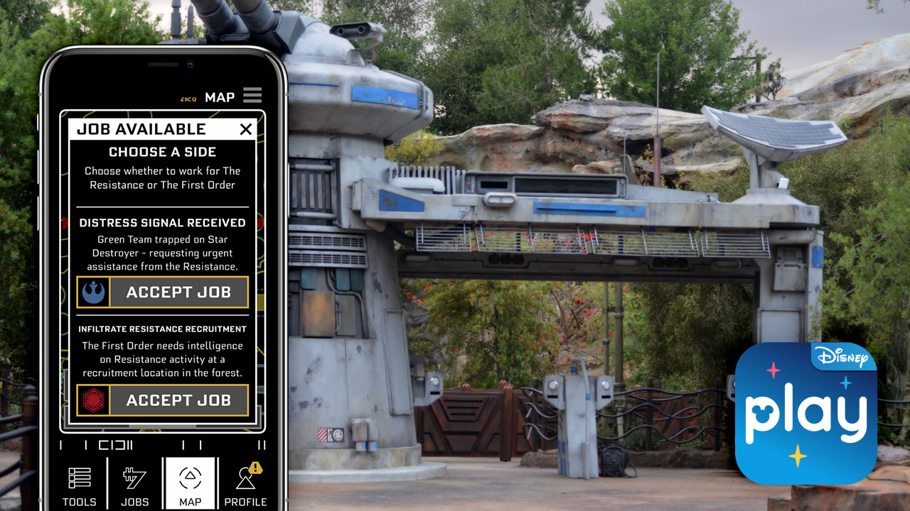 Star Wars Rise of the Resistance Jobs in the Play Disney Parks App