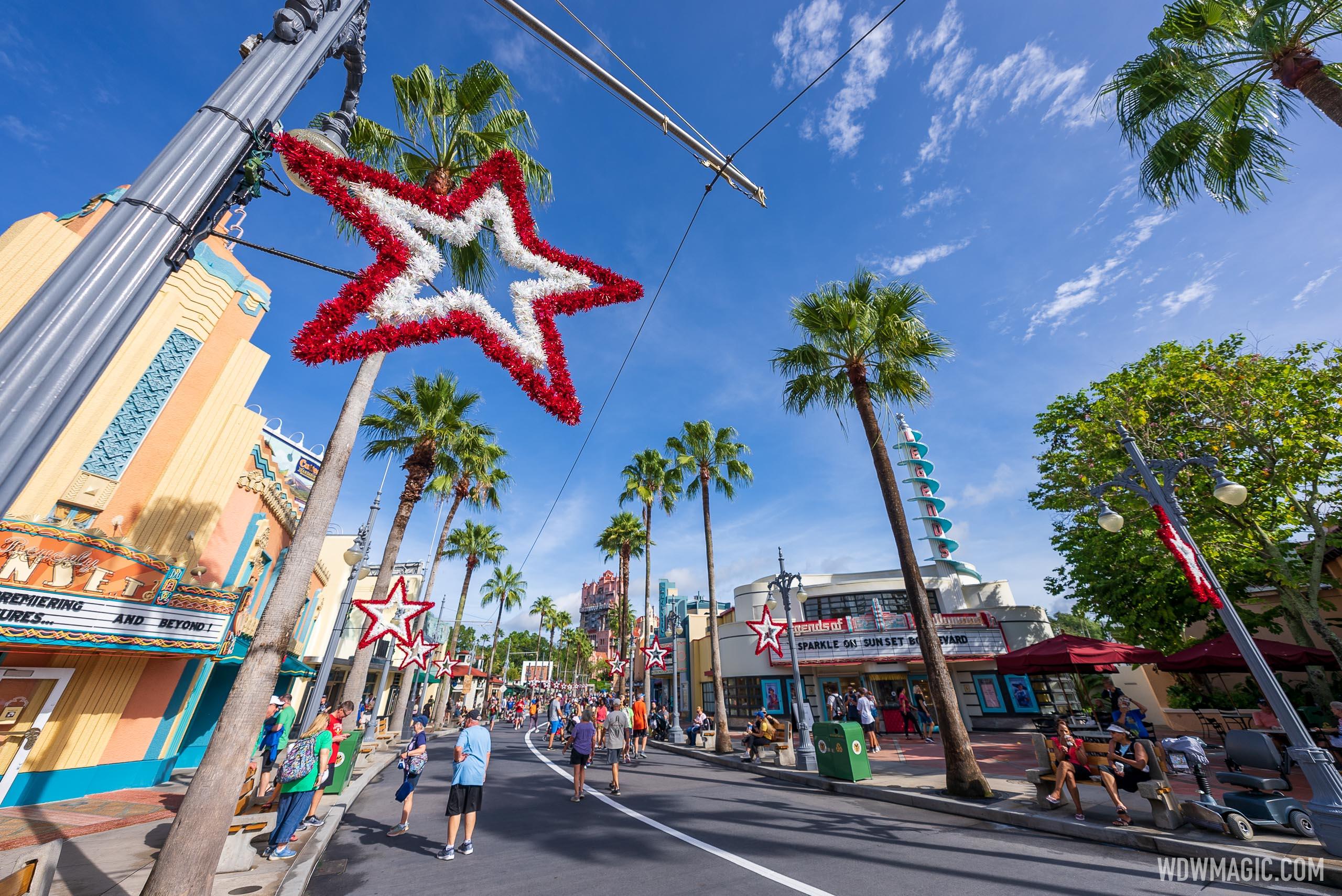 Holiday decor arrives at Walt Disney World with Sunset Seasons Greetings  at Disney's Hollywood Studios