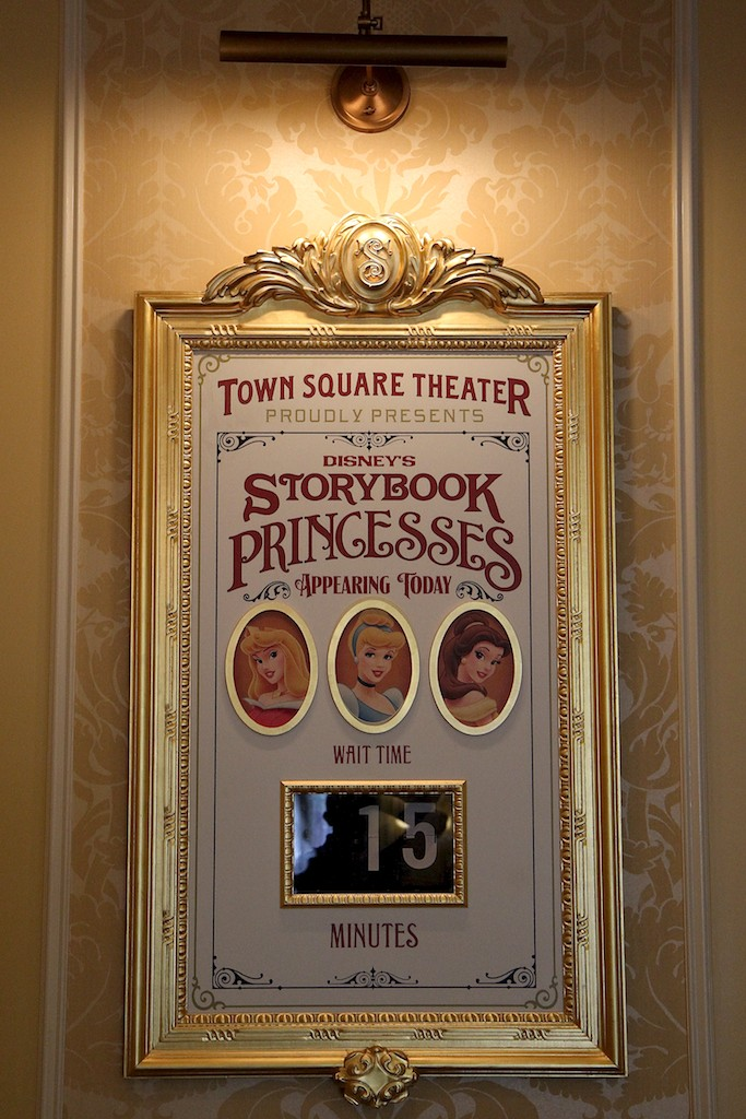 Town Square Theater interior and Mickey Mouse meet and greet