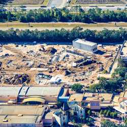 Toy Story Land construction from the air