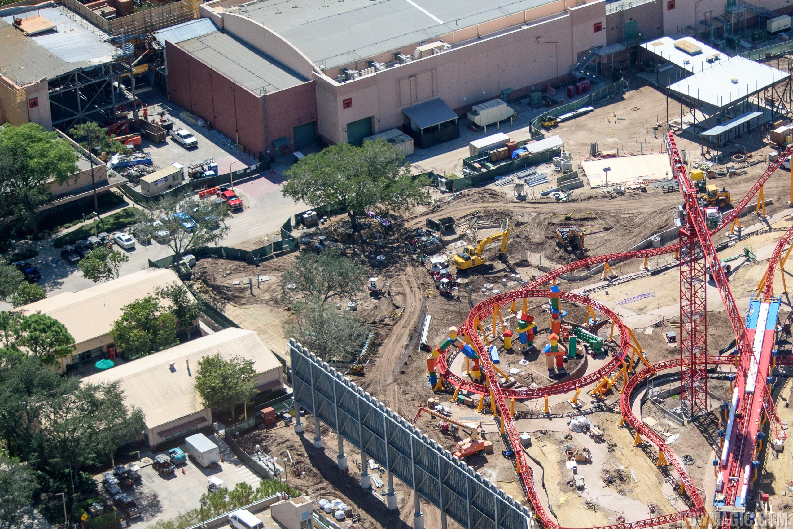 Toy Story Land - Slinky Dog Coaster theming and Sound Stage 4 demolition