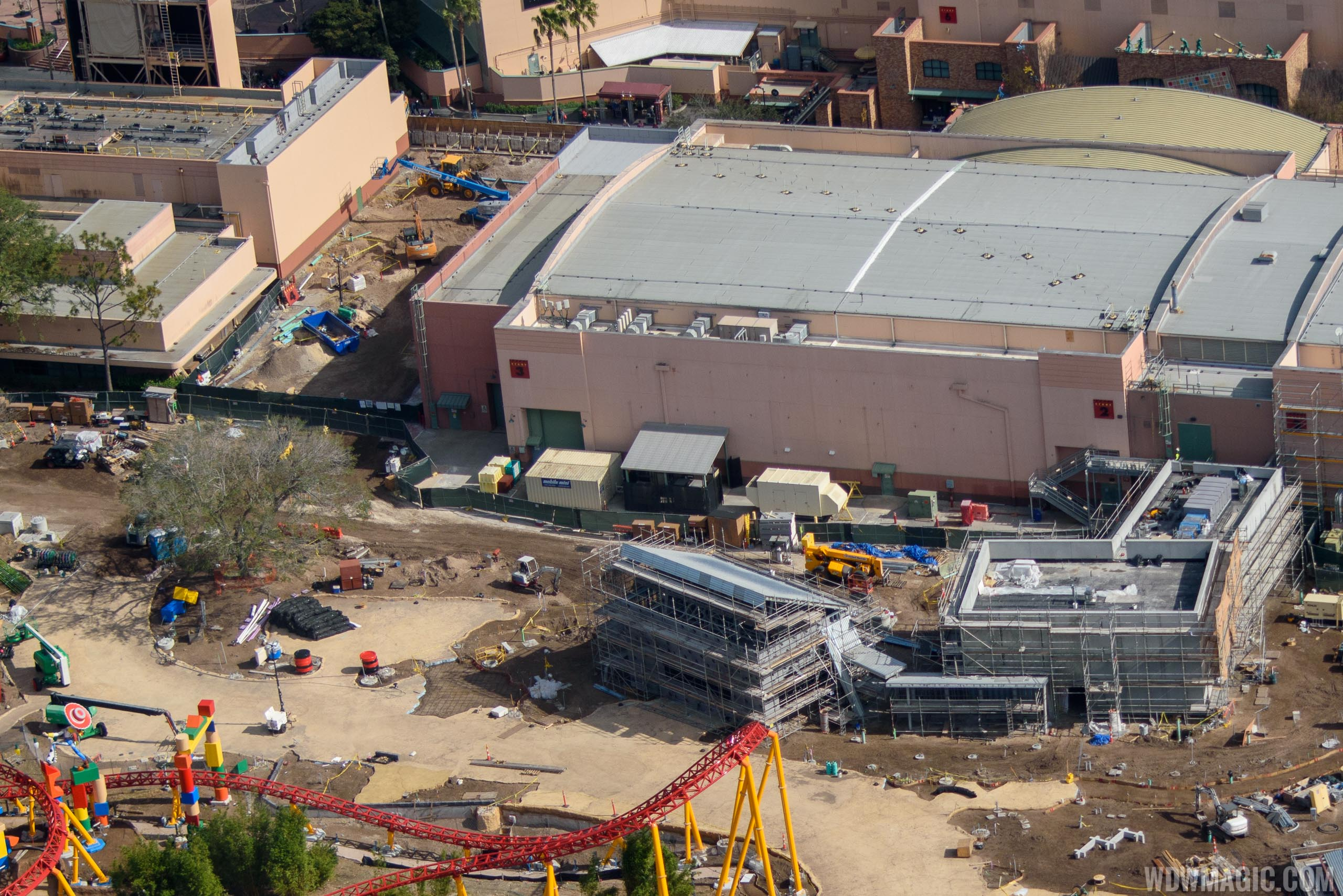 Entrance to Toy Story Land top left, and Entrance to Toy Story Mania right