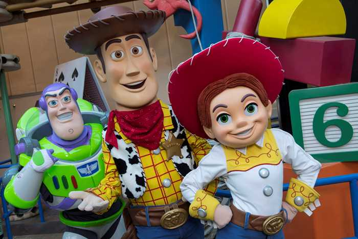 Buzz Lightyear, Sheriff Woody and Jessie in Toy Story Land
