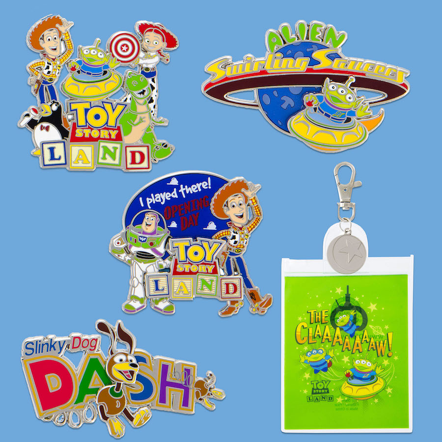 Toy Story Land pins and lanyards