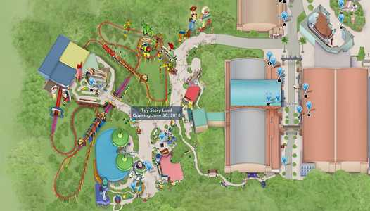 PHOTO - The completed Toy Story Land now included on My Disney Experience maps