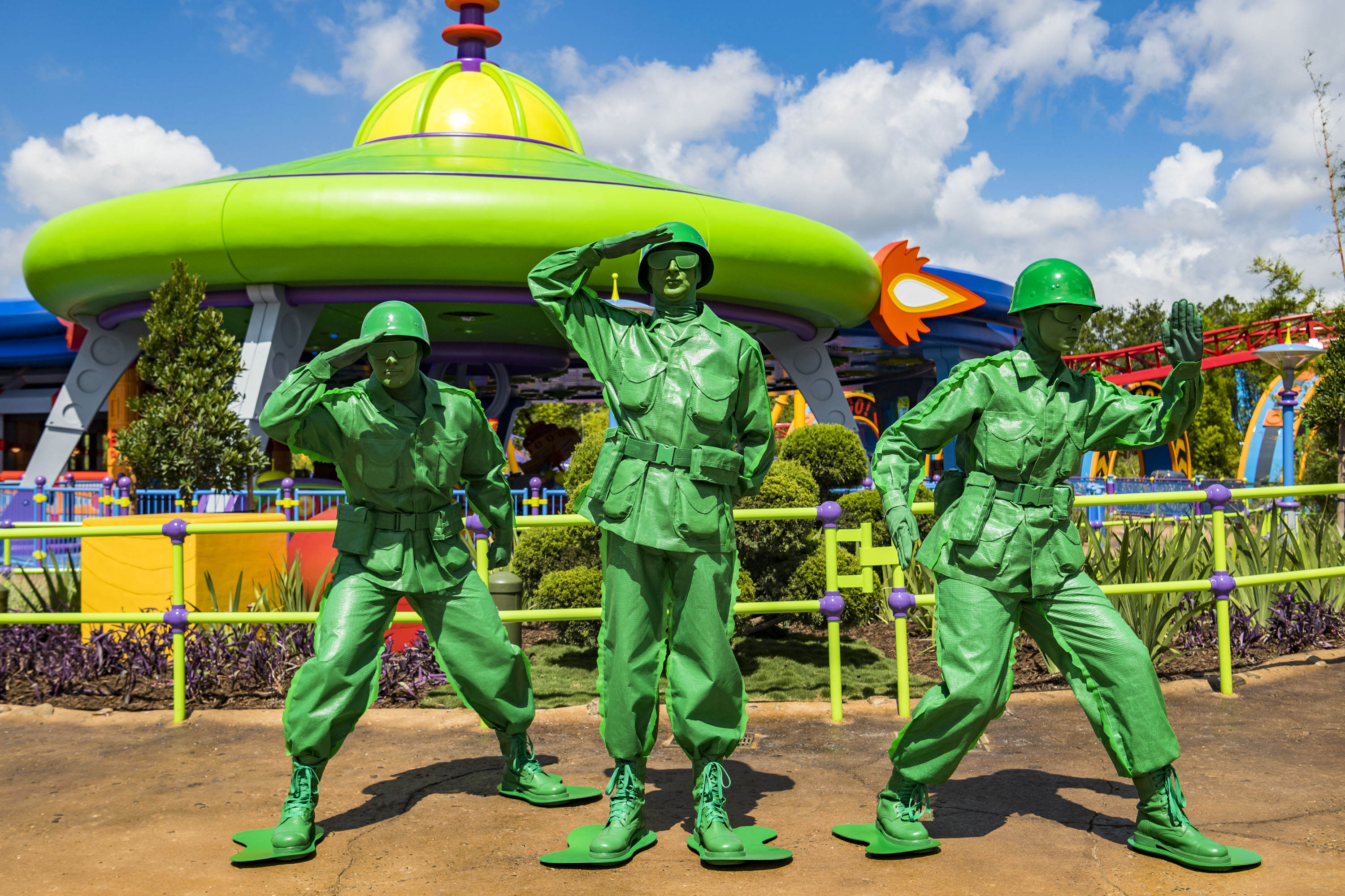 Green Army Men march through the land several times a day and stop to play Sarge Says with guests