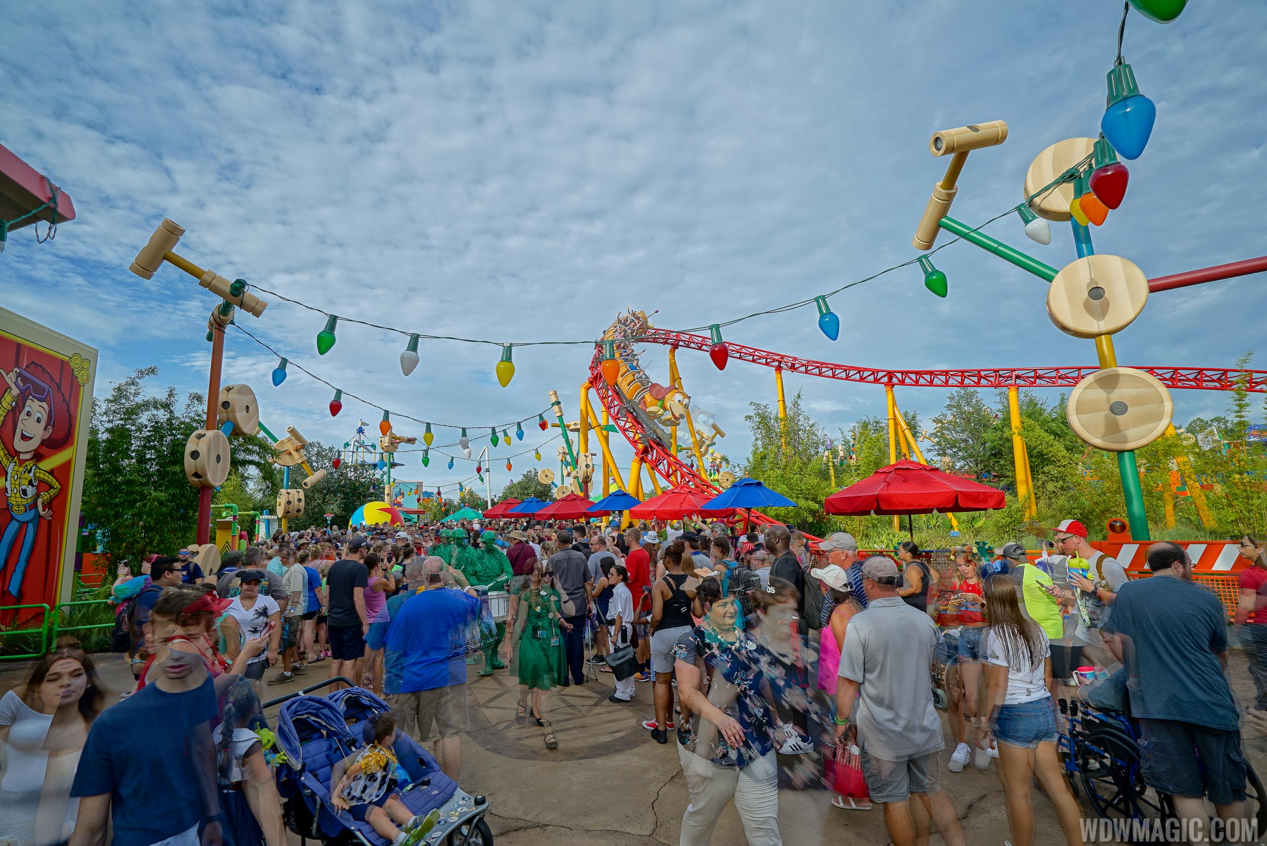 Crowds quickly gathered inside Toy Story Land