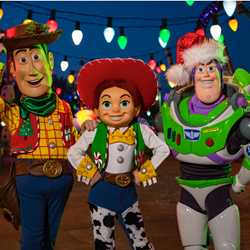 Toy Story Land characters holiday overlay